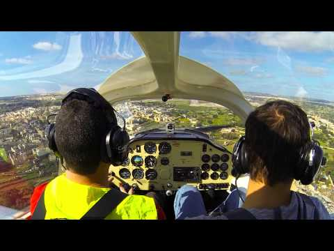 Tecnam P2002 Landing @ Malta International Airport LMML RW23 11/05/2015