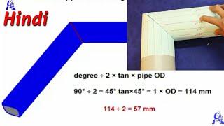 एक कट में पाइप का एल्बो बनाने का फार्मूला/one cut pipe elbow miter formula/16 center line/ Hindi