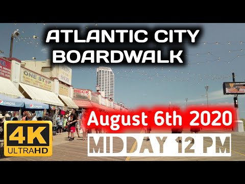 ⁴ᴷ⁶⁰ Atlantic City Boardwalk ( Midday At 12.00 Pm ) ..IT WAS REALLY HOT DAY...August 06th 2020
