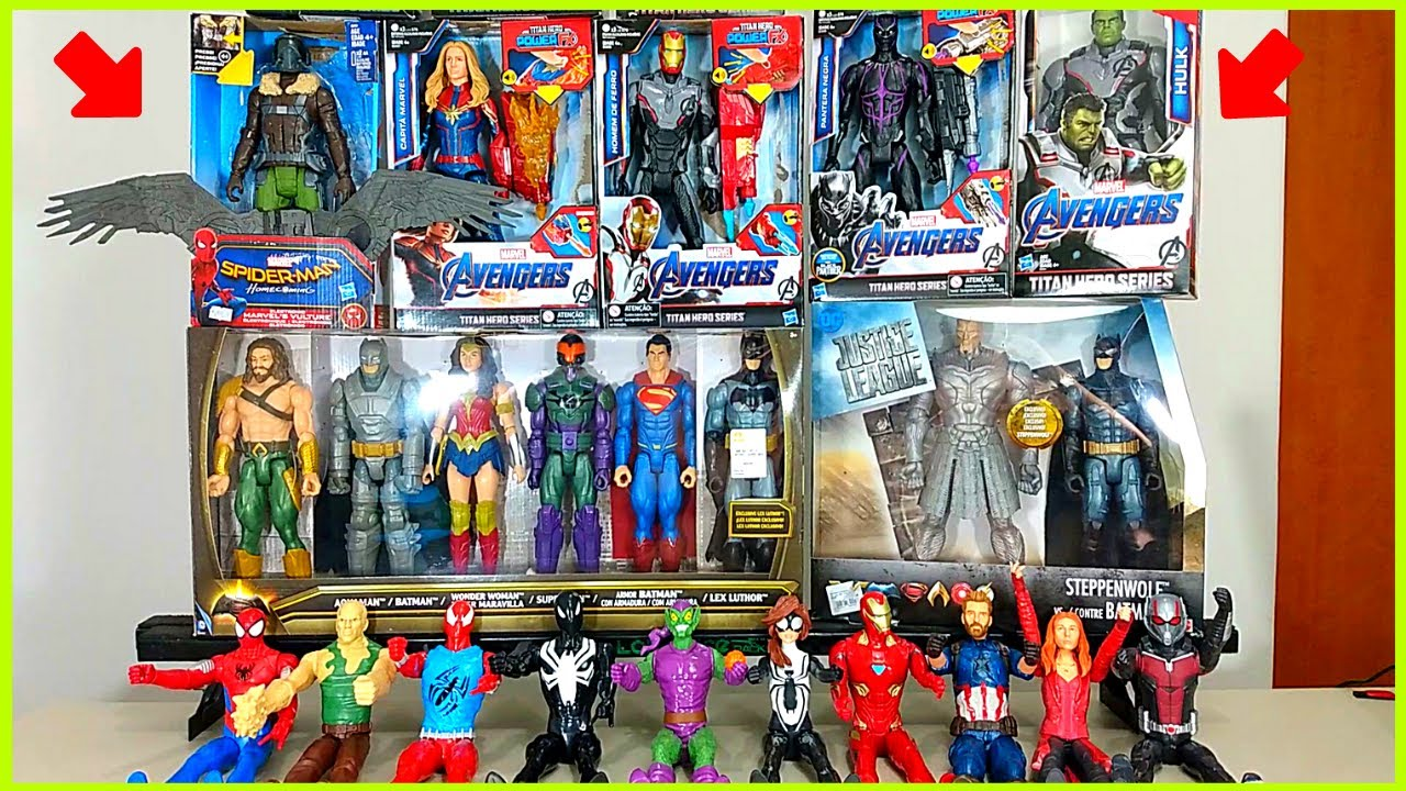 30 Bonecos Hulk,Thanos,Batman,Homem Aranha,DeadPool,Superman,Aquaman,Homem de Ferro,Mulher Maravilha