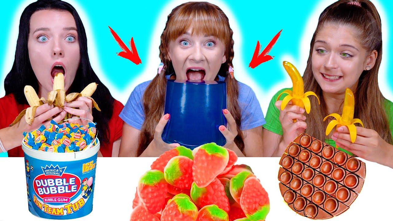 ASMR Gummy Food, Real Food VS Chocolate Food Challenge By LiLiBu #2