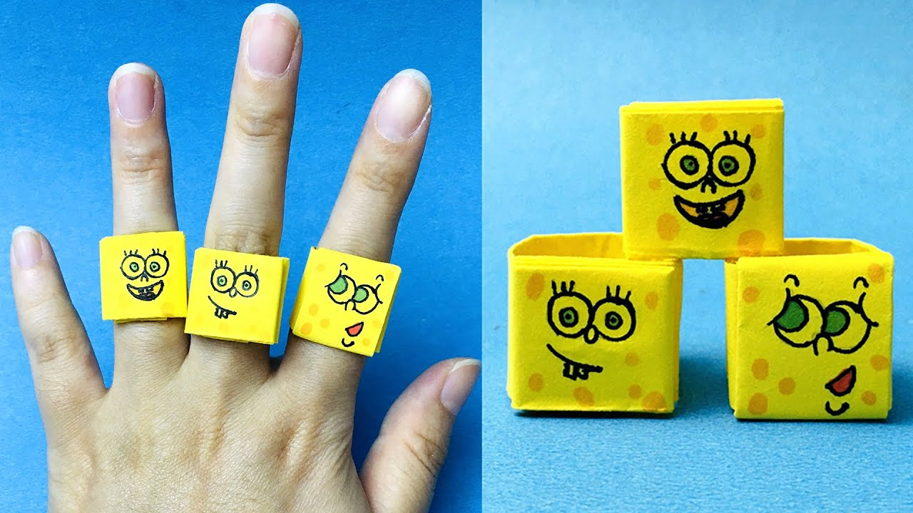 How to Make a Paper Ring / Origami SpongeBob Ring / Easy ...