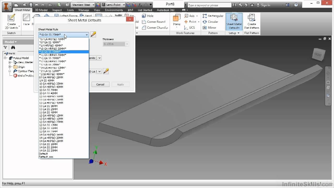 Autodesk Inventor Sheet Metal Design Tutorial Contour