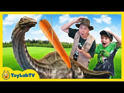 Life Size Dinosaur Rescue & Lion Sneak Attack with Nerf Toy Battle for Kids