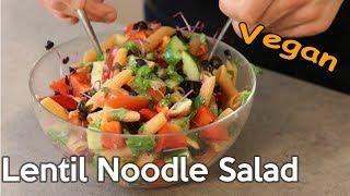 Vegan Lentil Noodle Salad - High Protein Recipe for Fitness & Health