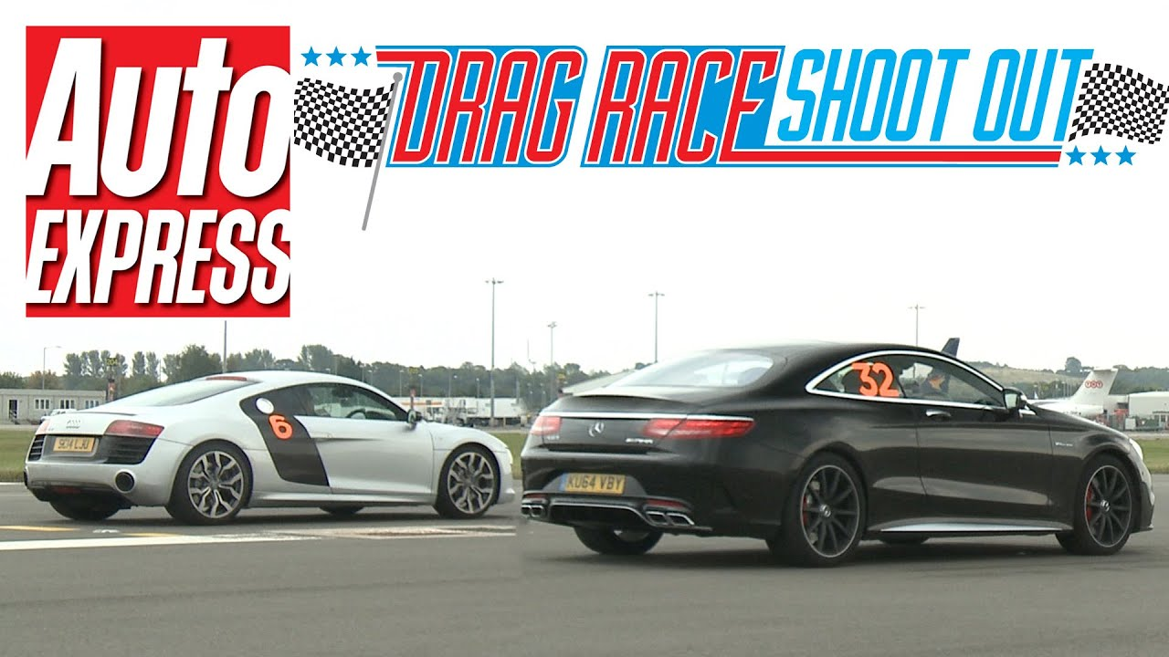 audi r8 v10 vs mercedes s63 amg coupe - drag race shoot-out - youtube