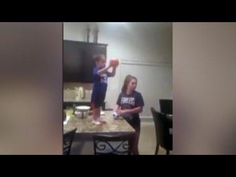Watch toddler's incredible trick shot ability