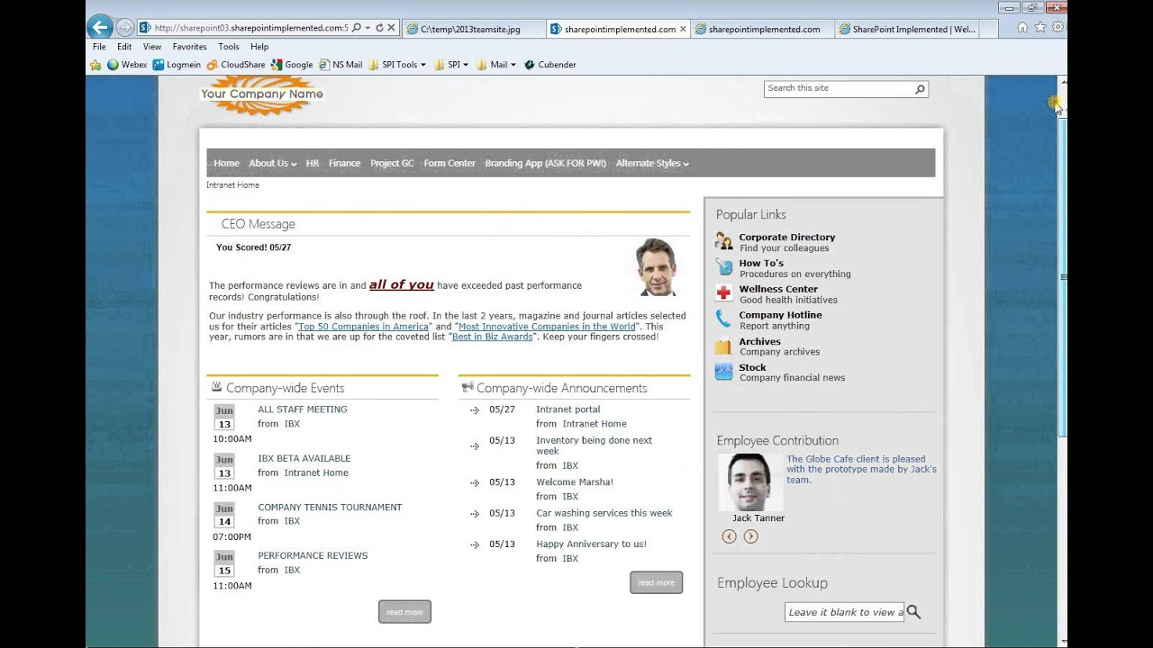 company intranet template - sharepoint 2013 intranet examples