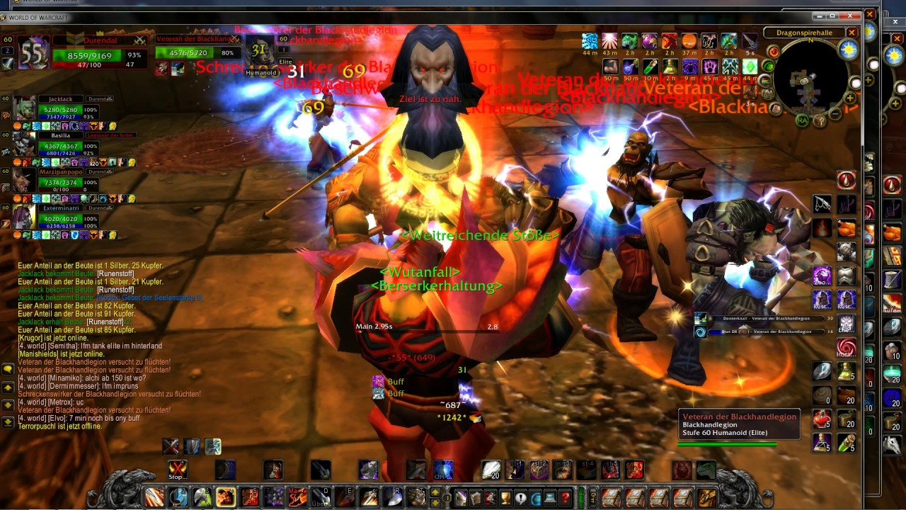 Durendal - Classic WoW - UBRS Rend run (only 5/10 Chars - legit Multiboxing)
