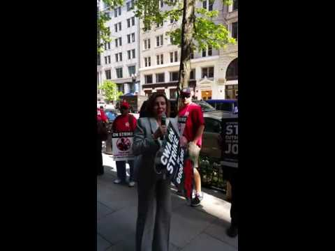 House Minority Leader Nancy Pelosi joins CWA strikers in DC