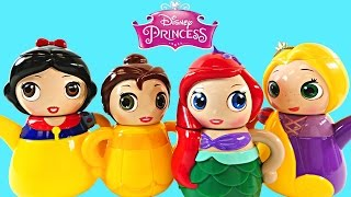 Disney Princess Tea Party with Play Doh Mermaid Ariel Snow White Rapunzel Belle Playdough DCTC Toys