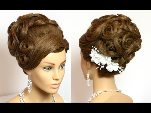 Bridal updo. Wedding prom hairstyles for long hair tutorial