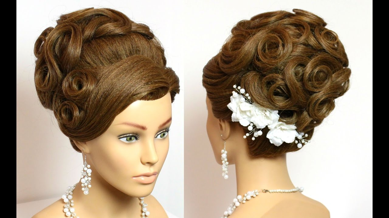 Hairstyle For Long Hair Tutorial. Wedding Bridal Updo