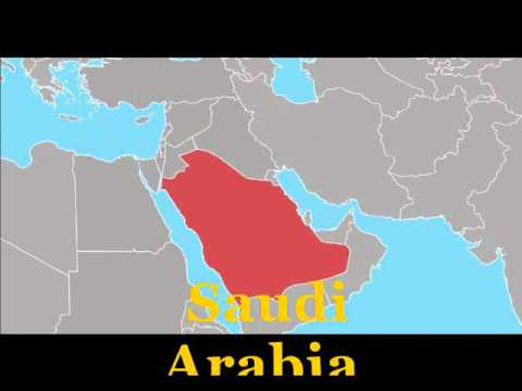 English pronunciation of Middle East countries which are shown in map