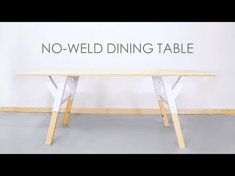 DIY Wood and Metal Dining Table with NO WELDING!! | Modern Builds