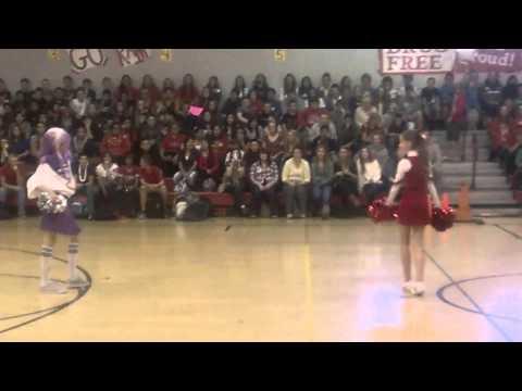 Boy cheerleaders Oakdale junior high school