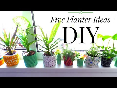 Five Planter / Plant Pot Ideas using Recycled Materials | Summer Room Decor |  by Fluffy Hedgehog