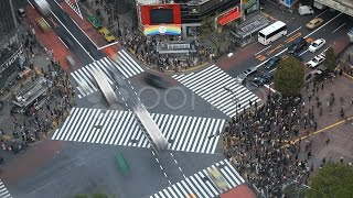 Aerial View Shibuya Crossing Tokyo Skyline Japan Traffic Crowds, Time Lapse Busy. Stock Footage