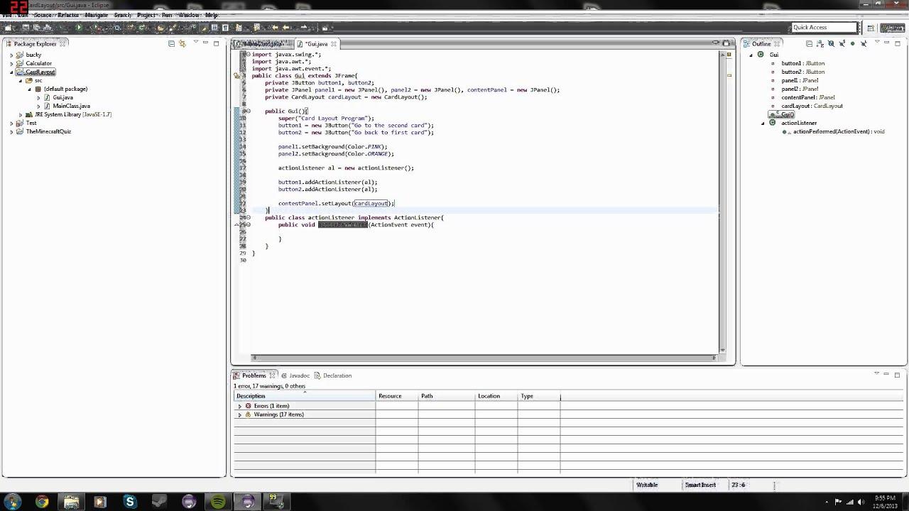 Java Programming Cardlayout Tutorial Youtube