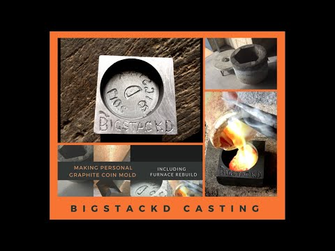 COIN CASTING IN GRAPHITE HOMEMADE MOLDS -turning scrap into coins - Furnace Rebuild