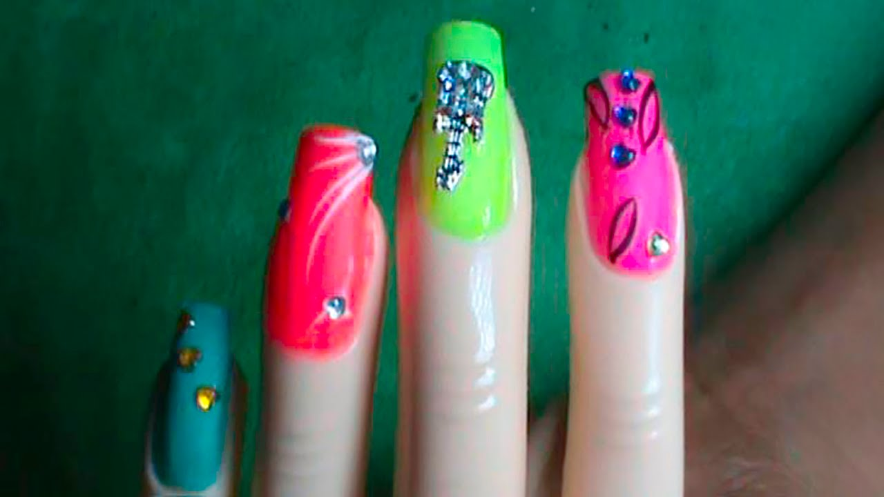 Hermosa decoración de Uñas fáciles con distinto colores - YouTube