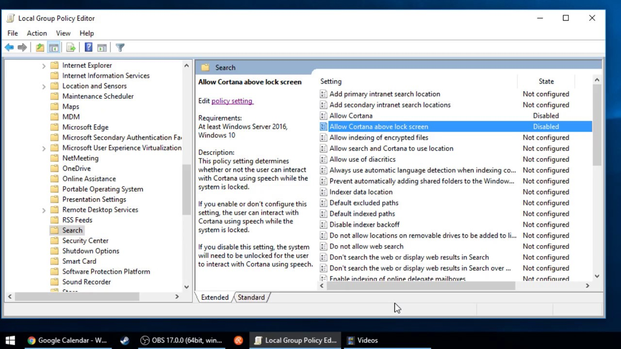 disable cortana web search group policy