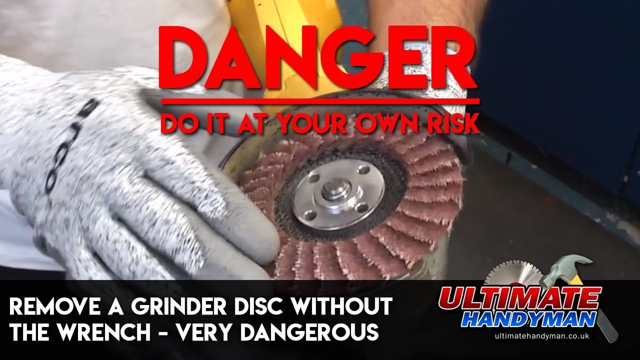 Remove a grinder disc without the wrench - very dangerous