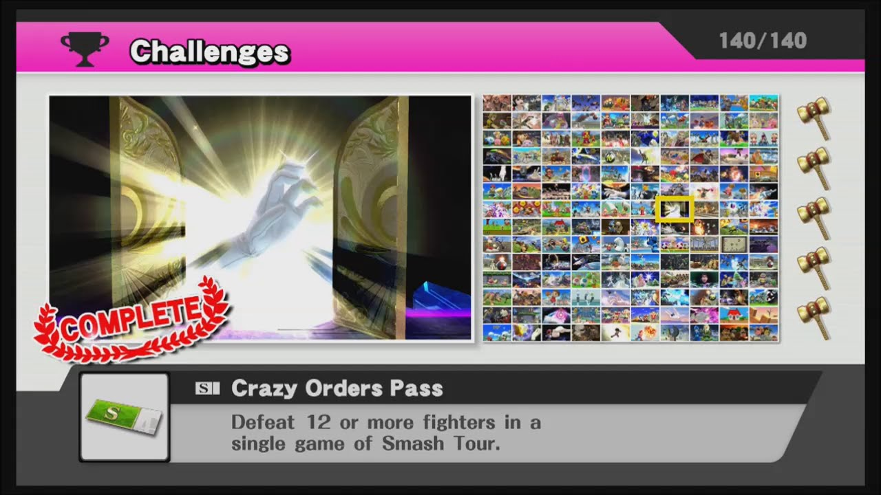 Super Smash Bros Wii U All Challenges Completed No
