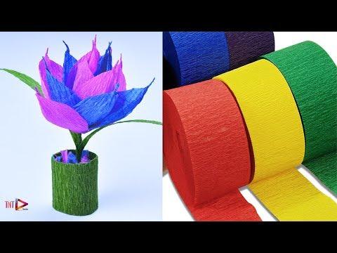 How To Make Miniature Crepe Paper Flower Pot | Home Decor Miniature Paper Plant