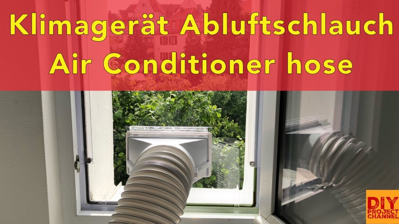klimaanlage abluftschlauch klimager t fensterdurchf hrung diy airlock hot air stop youtube. Black Bedroom Furniture Sets. Home Design Ideas