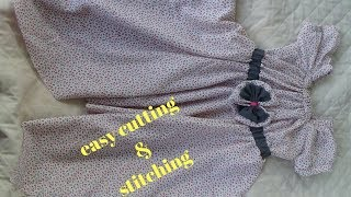 how to make baby frock at home easy cutting stitching full tutorial/handkerchief style frock