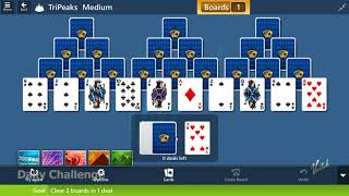 Microsoft Solitaire Collection - TriPeaks [Medium] | September 19th 2019: Clear 2 Boards in 1 deal