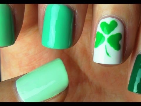 Easy St Patricks Day Shamrock Nail Art Youtube