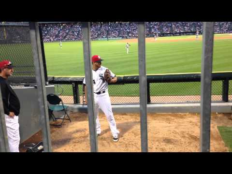 White Sox Andre Rienzo in bullpen during game 7/4/14