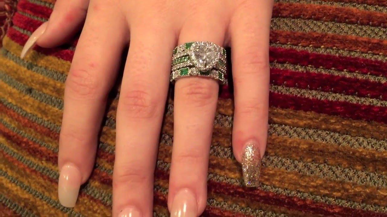 Platinum And Cubic Zirconia 2 Carat Heart Engagement Ring