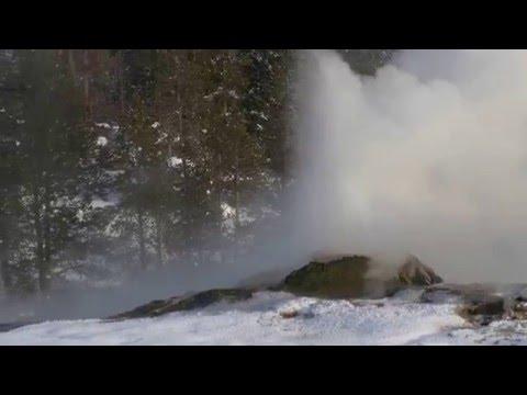 Geyser eruption in Yellowstone's winter