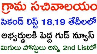 Grama sachivalayam 2nd List 18th,19th  Grama sachivalayam Latest News Grama sachivalayam second list