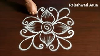 Beginners level rangoli design with 4x4x2 dots *Easy 4 dots muggulu designs*Daily small kolam design