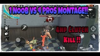 1 NOOB VS 4 PROS INSANE RANKED SQUADS MONTAGE !!BEST FREE FIRE MONTAGE!!Garena Free Fire !!!