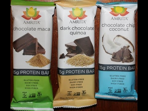 Amrita: Chocolate Maca, Dark Chocolate Quinoa & Chocolate Chip Coconut Protein Bar Review