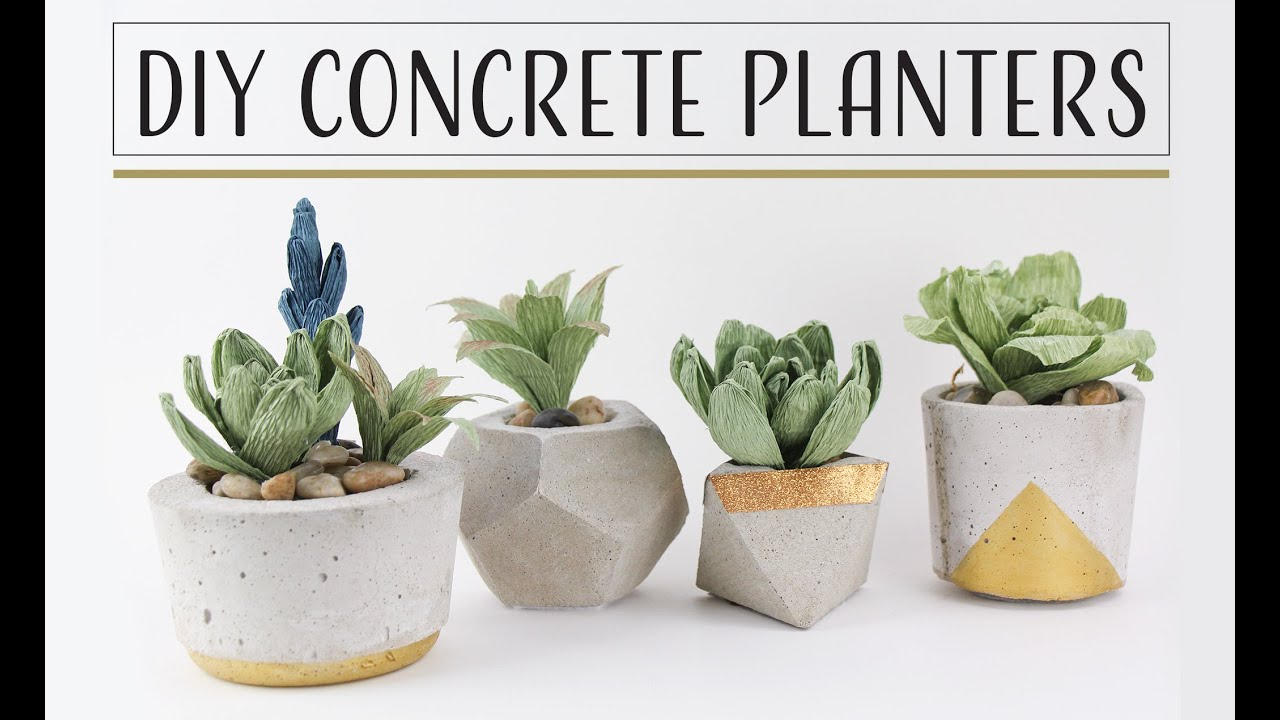 DIY Concrete Planters Maceteros de concreto YouTube