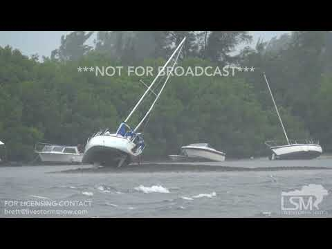 9 10 17 Tampa Bay, FL Boats Become Beached As Hurricane Irma Sucks Water Out Of Bay, Reverse Surge