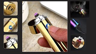 видео Импульсная электрическая зажигалка с аккумулятором двойная плазма
