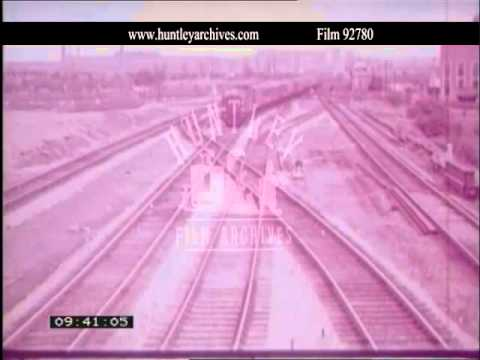 Rugby railway station.  Archive film 92780