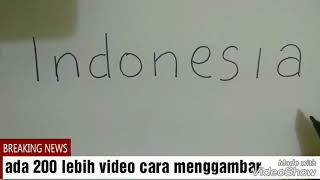 Cara menggambar dari kata Indonesia menjadi gambar anak Indonesia...bineka tunggal ika