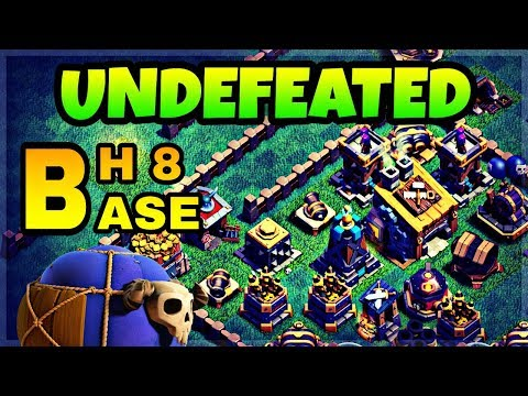 BH8 UNDEFEATED BASE LAYOUT WITH REPLAY | BUILDER HALL 8 BEST BASE IN COC | CLASH OF CLANS