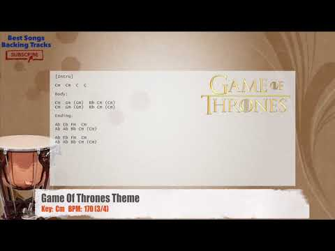 Game Of Thrones Theme Drums Backing Track With Chords Youtube