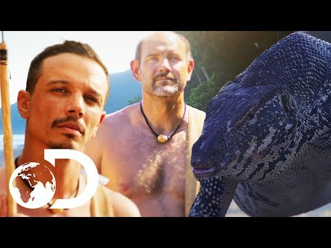 Starving Contestants Attempt To Hunt Down A Wild Monitor Lizard | Naked & Afraid XL