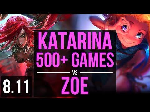 KATARINA vs ZOE (MID) ~ 500+ games, KDA 19/2/1, Legendary ~ EUW Master ~ Patch 8.11