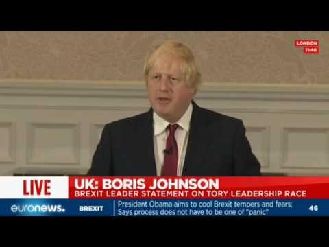 LIVE: Boris Johnson's shock announcement he will not run for Tory leadership